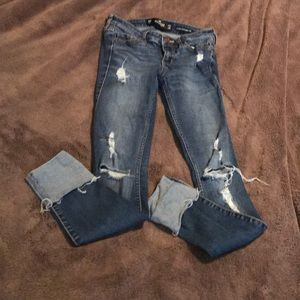 Hollister low rise super skinny crop jeans 00R